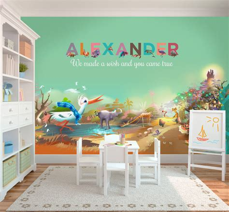 Childrens Wall Mural personalised children s wallpaper mural by my given name