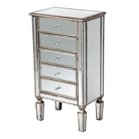 Silver Drawers by Mirror Antique Silver Trim 5 Drawer Bed Side Table