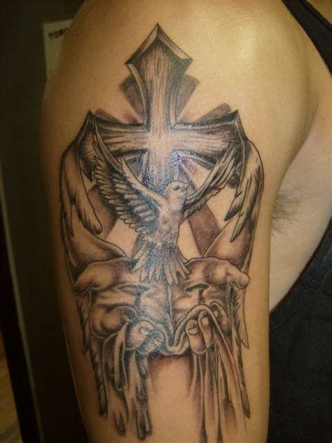 cross half sleeve tattoos grey ink winged cross and flying dove in on