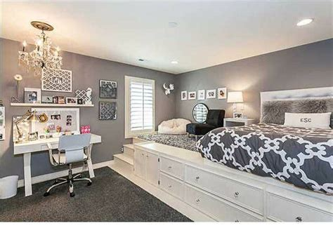 teenage basement bedroom ideas gray and white bedroom lifted bed built in storage