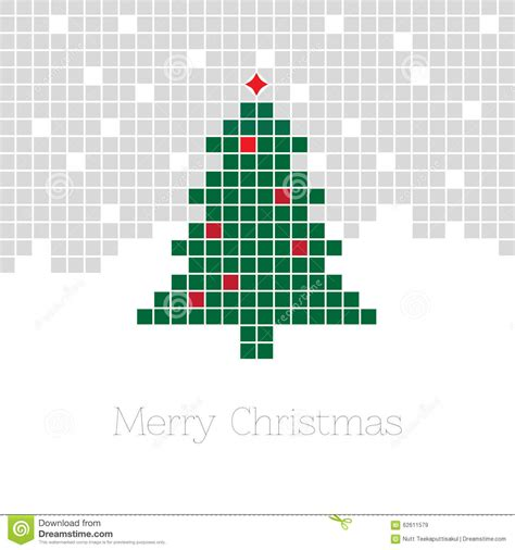 christmas background with pixel christmas tree stock