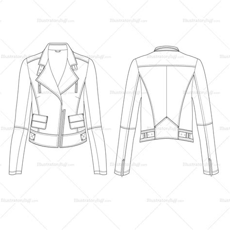 Women S Leather Jacket Fashion Flat Template Illustrator Stuff Fashion Flats Template