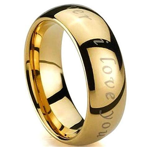 Tungsten Carbide Ring Wedding by Engraved With I You Gold Tungsten Carbide Wedding