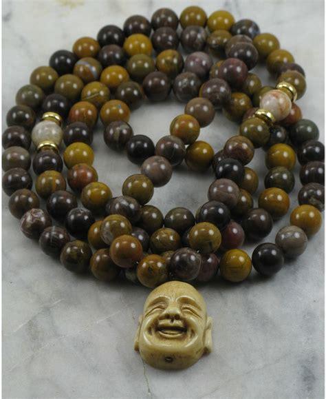 beady bead buddha mala necklace 108 wood agate mala buddhist