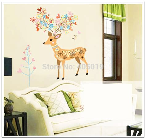 cute sayings for home decor cute 39 quot x39 quot 100x97cm ay9171 deer head wall stickers for