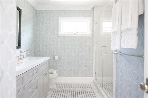 Light Blue And Gray Bathroom by Blue And Gray Bathroom With Light Gray Washstand And