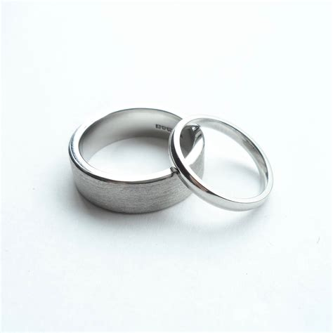 palladium wedding ring brushed polished set van buskirk