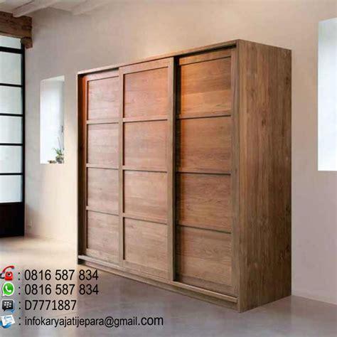 Lemari Sliding 3 Pintu Kayu Jati lemari pakian sliding 3 pintu minimalis ini dibuat dari