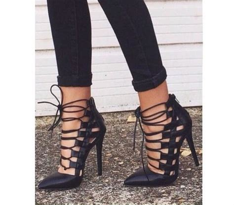 Heels Black Ribbon shoes black ribbon lace up heels court shoes black