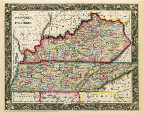 antique state maps vintage state map of kentucky and tennessee 1860 print