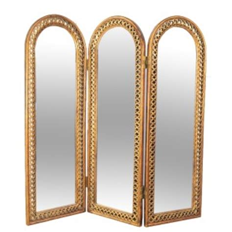 gold room divider decorative folding 3 section beveled mirror woven frame