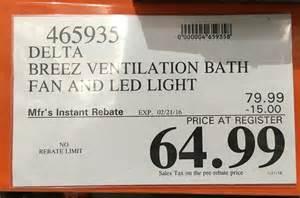 delta breez ventilation system bath fan and led light