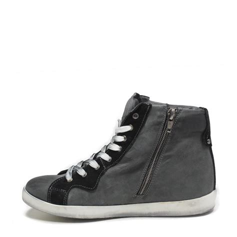 sneaker zeppa interna sneakers zeppa interna grigio nero vera pelle made in italy