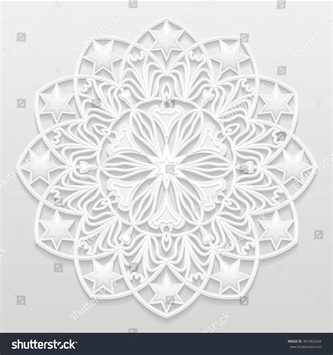 embossed pattern vector decorative flower snowflake mandala embossed pattern stock