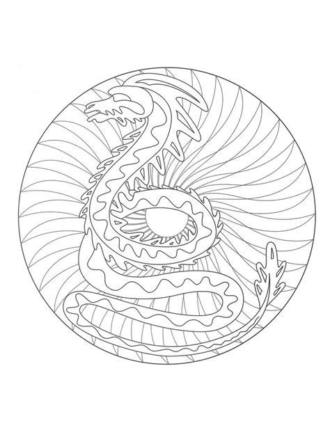mandalas page coloring  mandala dragon