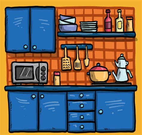 kitchen cartoon cartoon blue kitchen design vector material download free