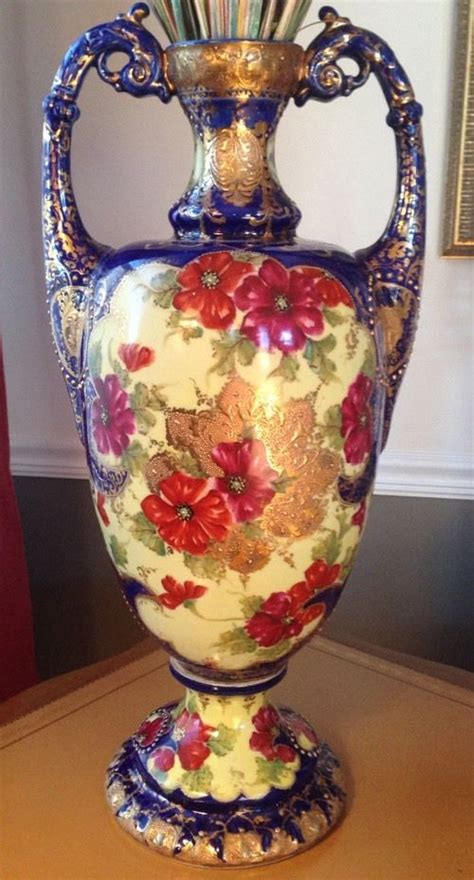 Antique Looking Vases by Antique Sevres Style Cobalt Blue Porcelain Large Vase