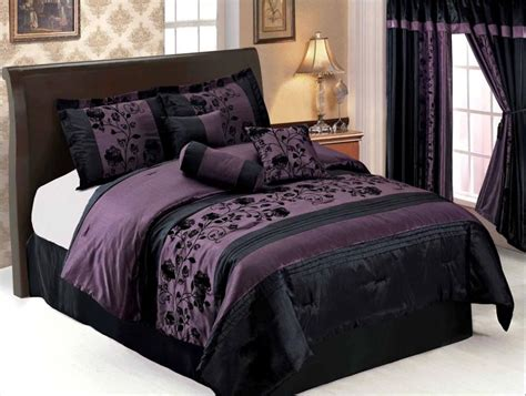 purple and black bedding sets 7 pcs flocking floral pleated comforter set bed in a bag