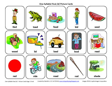 printable articulation cards testy yet trying final d free speech therapy