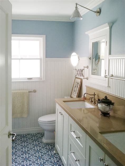 bathroom beadboard ideas design trend decorating with blue color palette and