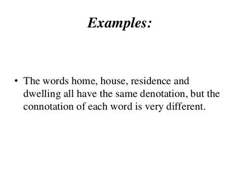 exle of denotation semantics connotation and dennotation