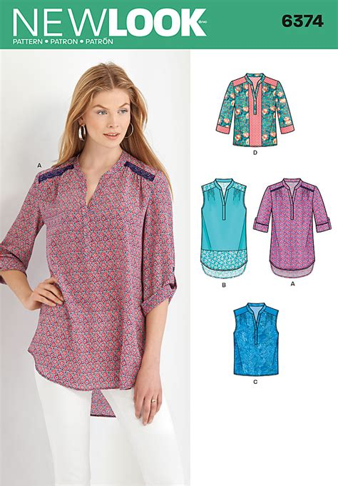 pattern review new look 6374 new look 6374 misses shirts with sleeve and length