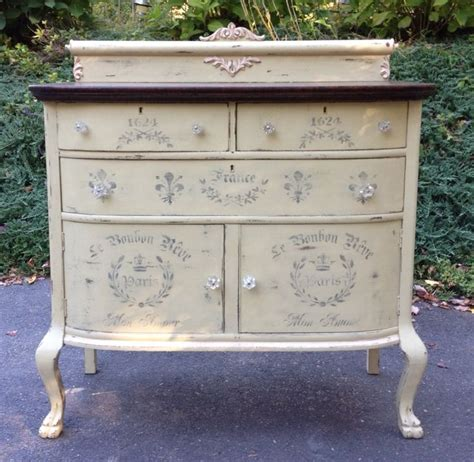 turn of the cenrury chalk painted shabby chic sideboard with french time worn stencils great