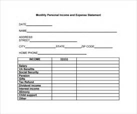 Personal Income Statement Template by Sle Expense Statement Template 9 Free Documents In Pdf