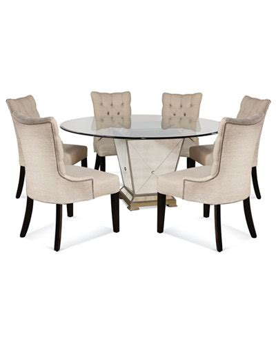 6 Chair Dining Table Set Marais Dining Room Furniture 7 Set 60 Quot Mirrored