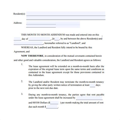month to month lease agreement templates 8 sles