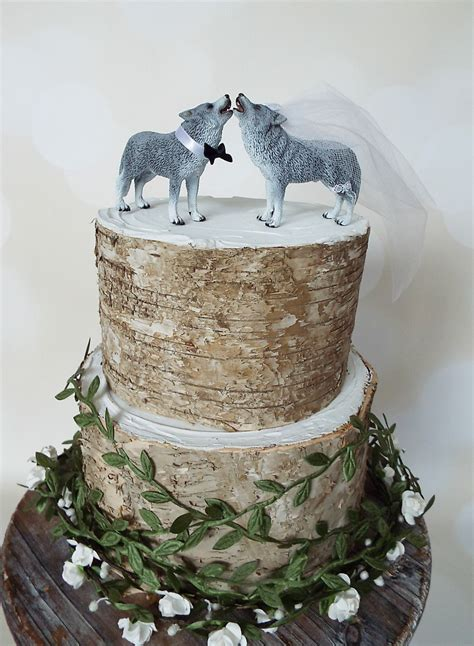 Wolf Cake Decorations wolf wedding cake topper wolves howling groom animal