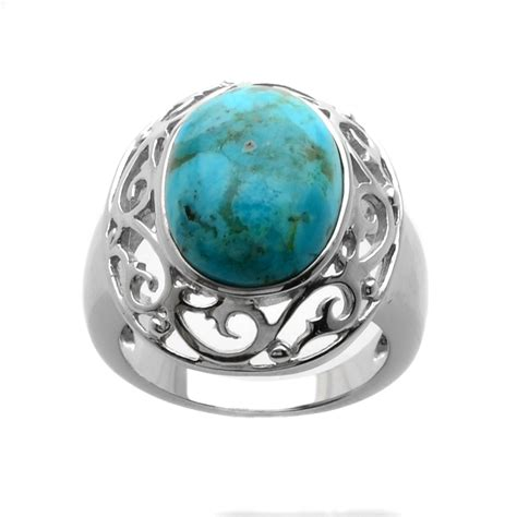sterling silver oval turquoise ring size 7 only