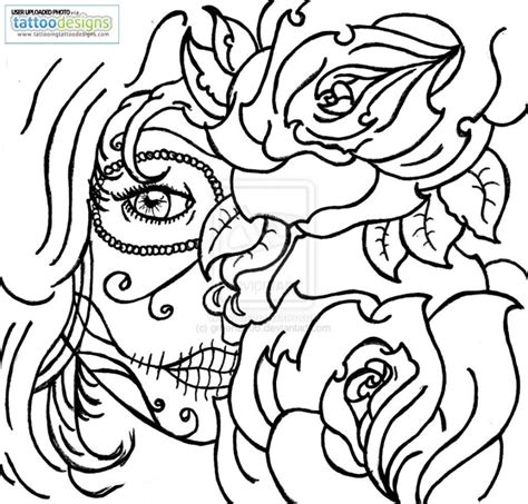 Roses And Skulls Coloring Pages