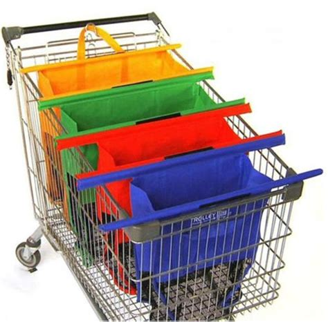 Supermarket Trolley Organizer Bag reusable clip to cart organizer supermarket bag