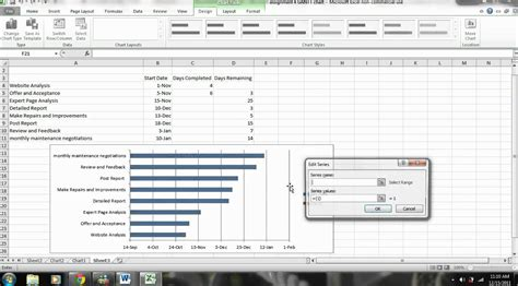 excel 2010 chart tutorial video excel tutorial how to create a gantt chart with microsoft