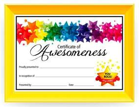 Certificate Of Awesomeness Template by Certificate Of Awesomeness Graduation Kid And My Name