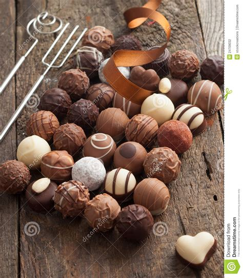 luxury handmade chocolate bonbon assortment stock