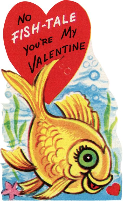 retro valentine goldfish image  graphics fairy