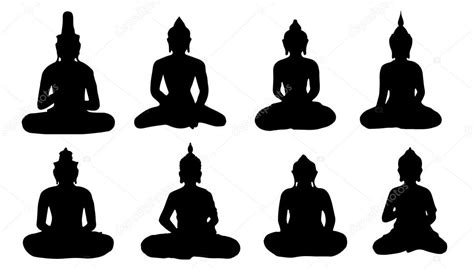 buddha silhouettes stock vector 169 yyanng 55392843