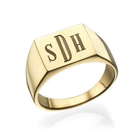 monogrammed signet ring 18k gold plated mynamenecklace
