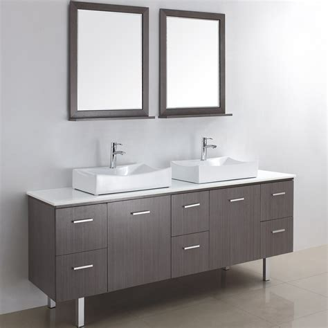 Beautiful modern bathroom vanity with two square mirror on simple wall plus twin single sink on
