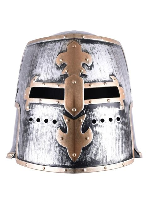 children knight templar helmet  hinged visor plastic