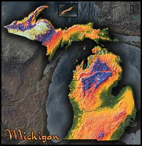 Michigan Topographic Map by Topographic Map Of Michigan Physical Terrain In Bold Colors