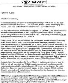 bankruptcy letter of explanation template daewoo motors america bankruptcy documents