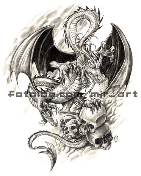 skull dragon tattoo designs grey ink skulls and design