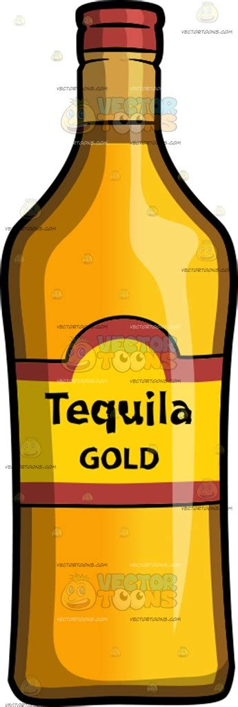 cartoon tequila a bottle of gold tequila cartoon clipart vector toons