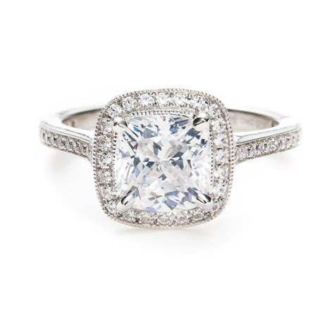 Cushion Cut Engagement Rings by Cushion Cut Thin Pave Band Cushion Cut