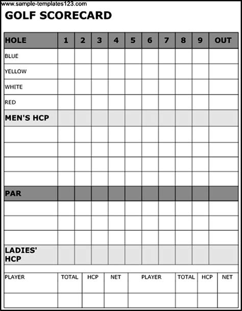 golf scorecard template sle templates