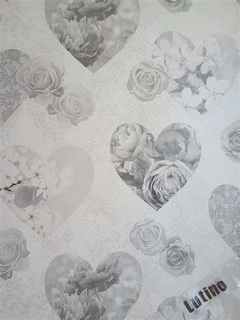 grey wallpaper shabby chic novelty shabby chic silver grey floral hearts love feature