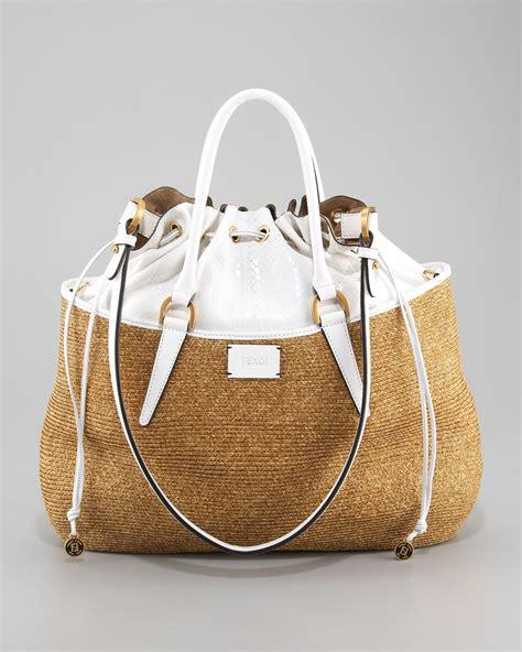 Fendi Raffia B Bag by Fendi Drawstring Top Raffia Bag In Metallic Lyst